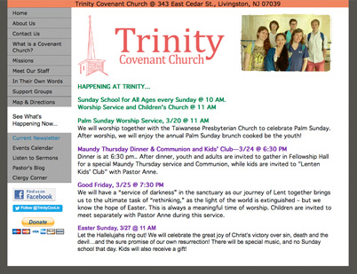 old trinity covenant church website