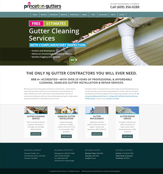 Princeton Gutters website