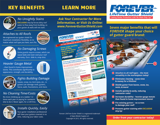 Forever Lifetime Gutter Shield brochure 1