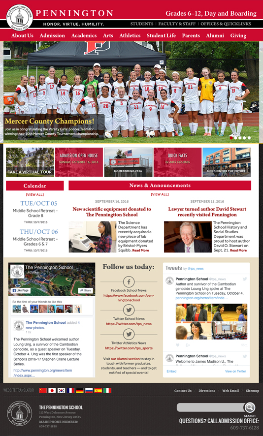 home page for The Pennington School
